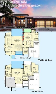 Architectural Designs Modern House Plan 69113AM gives you over 4,000 square feet of living spread across the main and lower levels. Lots of photos of the inside and out of this popular design. Ready when you are. Where do YOU want to build? More