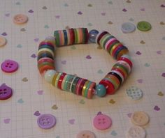 Multi Coloured Button Bracelet £5.00  By Lisa Jane