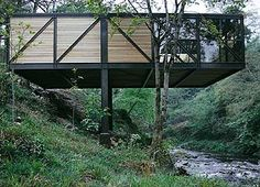 One final look at the Friday's the spectacular Goulding Summer House, on the banks of River Dargle, Co. Cliff House, House On A Hill, My House, Cantilever Architecture, Architecture Design, Hillside House, House On Stilts, Container House Design, Forest House