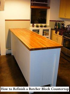 Don't replace your butcher block countertop - refinish it instead. Here are the steps for How to Refinish a Butcher Block Countertop