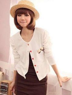 Puff Sleeve Round Neckline Ladies White Cotton Coat One Size @YIF10807w