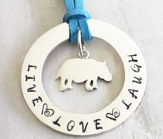 Sterling silver personalised hoop pendant with hippo dangle in the centre Personalised Jewellery, Meringue, Sterling Silver Jewelry, Washer Necklace, Hoop, Centre, Dangles, Pendant, Merengue