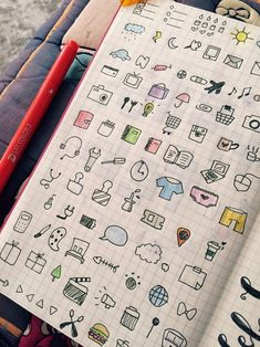 Planner icons more bullet journal kresliť, filofax, písanie Bullet Journal Décoration, My Journal, Journal Pages, Journal Ideas, Filofax, Kalender Design, Passion Planner, Diary Planner, Sketch Notes