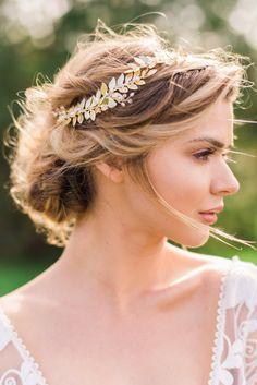 Gold Leaf Headband Gold Bridal Hair Wreath by ABitofLoveWedding