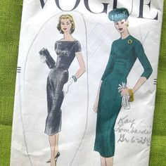 1957 Vintage Vogue Sewing Pattern 8972 - Empire Waist Dress - Shelf Bust - Wiggle DRESS - Slim Fit VEIW B / Size 10