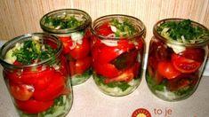 Poľské nakladané rajčiny: Minulý rok som spravila na skúšku len 4 poháre, tento rok robím zásobu aspoň do zimy – famózna chuť! Marinated Tomatoes, Canning Recipes, What To Cook, Preserves, Pickles, Recipies, Frozen, Stuffed Peppers