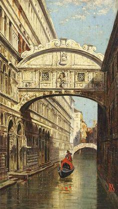 """""""The Bridge of Sighs"""" Antonietta Brandeis (1849 - 1920)"""