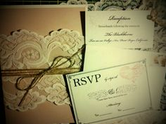 The 'rustic romantic' DIY :  wedding diy invitation invitations lace romantic rustic Invitation