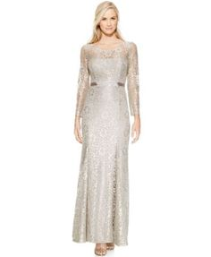 Betsy & Adam Long-Sleeve Open-Back Lace Gown | macys.com. In stock and ready to ship $171