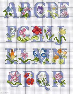 Flower Alphabet 1 of 2 Small Cross Stitch, Cross Stitch Letters, Beaded Cross Stitch, Cross Stitch Samplers, Cross Stitch Flowers, Cross Stitch Charts, Cross Stitch Designs, Cross Stitching, Cross Stitch Embroidery