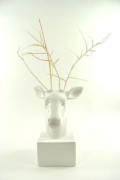 Deer Head Vase  White Deer Vase  White Faux by WhiteFauxTaxidermy, $39.99
