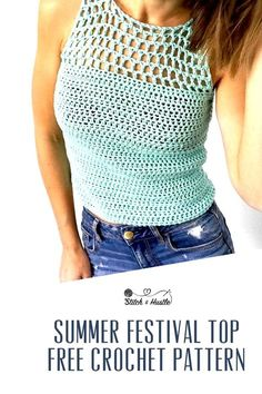 Catalina Crochet Tank Top Free Pattern — Stitch & Hustle Lullaby Lodge: Crochet tops, perfect for your summer wardrobe - Free crochet patterns selected by Lullaby Lodge. T-shirt Au Crochet, Beau Crochet, Moda Crochet, Pull Crochet, Crochet Woman, Crochet Edgings, Freeform Crochet, Crochet Stitches, Crochet Baby