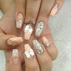 Peach and silver coffin nails
