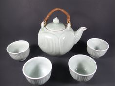 Vintage Celadon Chinese Lotus Blossom Tea Set, Teapot, Vintage Teacups, Bamboo Handle by TheRoseGardenVintage on Etsy