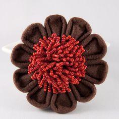 Felt Flower Brooch Brown and Orange Kanzashi by DesignsInBlooms