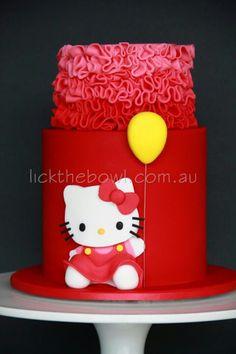Hello Kitty on red cake Hello Kitty Birthday Cake, Hello Kitty Cake, Birthday Cake Girls, Baby Birthday, Birthday Ideas, Birthday Cakes, Fancy Cakes, Cute Cakes, Little Girl Cakes