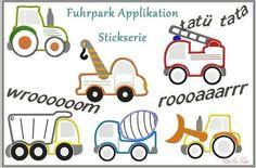 Applikationen - Stickdatei kleiner Fuhrpark Applikation 13x18  - ein Designerstück von -BellaIsa- bei DaWanda
