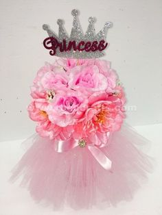 Princess crown with flowers and tutu centerpiece for baby shower from RBee Crafts.