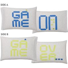 PB Teen Novelty Game On/Game Off Pillowcases, Set of 2, Game on/Game... ($50) ❤ liked on Polyvore featuring home, bed & bath, bedding, bed sheets, pbteen bedding, couple pillow cases, couples pillowcases, pbteen and twin pack