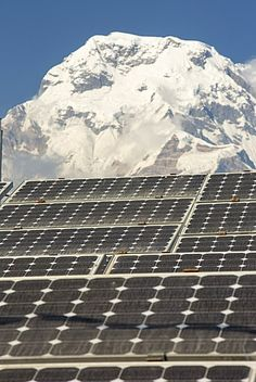 Solar photo voltaic panels being used to power a mobile phone mast at Ghandruk…