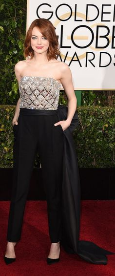 Emma Stone in a Lanvin jumpsuit at The Golden Globes.