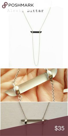 Alexis Bittar Encrusted Bar Silver Necklace New without original package Alexis Bittar Jewelry Necklaces