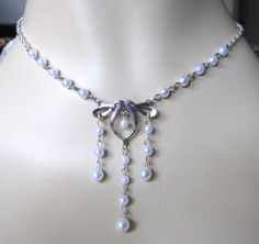 WEDDING Edwardian BRIDAL Medieval VICTORIAN Necklace Silver Whilte Pearl Elven    top 4 for wedding