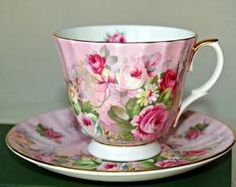 Downtown Abbey inspiration!  Via BellaRosaAntiques.com Pink Rose Crown Victorian Bone China Teacup-Crown Victorian, Staffordshire Teacup, Staffordshire, Pink Rose Teacup, Pink Rose China, Downtow... by natalie-w