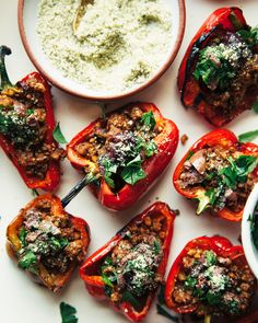 GRILLED MINI PEPPERS WITH SPICED WALNUT & LENTIL CRUMBLE » The First Mess // Plant-Based Recipes + Photography by Laura Wright
