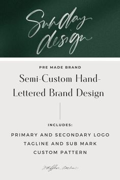 A chic, creative and unique pre-made hand-lettered brand that is dedicated to stylish creatives who need help establishing a brand they love. These pre-made logos are perfect for those who are just starting their business, who are on a tight budget, or who need a quick turnaround. This is more than just personalizing a brand for you...I'm making it personal, with you! To learn more, visit www.shopsaffronavenue.com