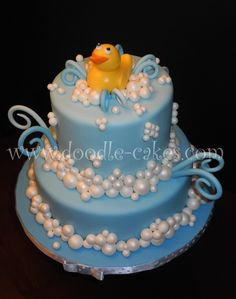 Everything's Ducky!     Yellow Rubber Duck themed Bday cake.     Everything edible..And, yes...Even the DUCKY!