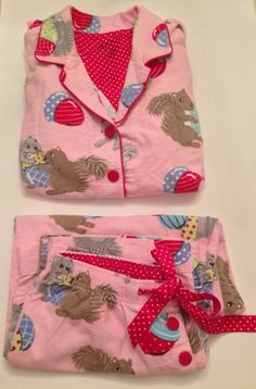 NICK & NORA SQUIRREL NUTS ABOUT YOU Flannel Pajama Set Top,Pants womens Large L #NickNora #PajamaSets