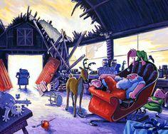 Santas Workshop Giclee Print by StubbornPixelStudios on Etsy