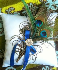 Peacock Ring Pillow-Perfect for your Peacock Wedding