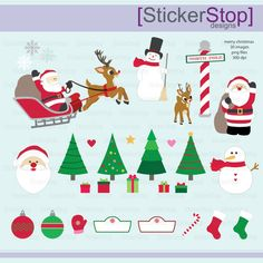 Merry Christmas Set - 30 images PNG Digital Clipart - Instant download - santa, snowman, reindeer, sleigh, north pole, tree, stocking by StickerStop on Etsy