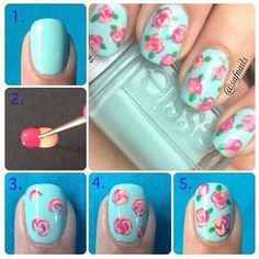 Floral DIY nails, I probably could never do this but it looks so cute!