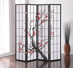 Stylish with a clean design, the Plum Blossom 4-Panel Screen Room Divider is a simple yet effective way to create a separation within a room without having to build a permanent wall partition. It's perfect for when you want to provide a little privacy within a particular space in your home.... more details available at https://furniture.bestselleroutlets.com/accent-furniture/room-dividers/product-review-for-roundhill-furniture-black-japanese-4-panel-screen-room-divider-p