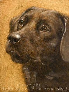 BLACK LABRADOR RETRIEVER DOG. ORIGINAL OIL PAINTING by JOHN SILVER. for GBP95.00…