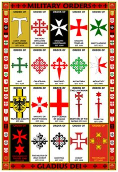 Military Orders 13x19 Symbols Poster featuring the symbols used by many of the Military Orders. The symbols are arranged from earliest to latest of the date of their creation.
