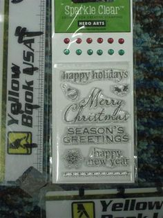 Hero Arts CL244 Holiday Messages with  Gems Stamps Set