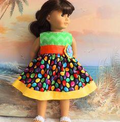 18 Inch/American Girl Doll Clothes Dress Bright by sewgrandmacathy