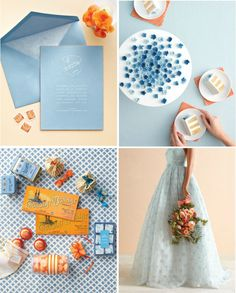 Wedding color inspiration: cornflower and melon