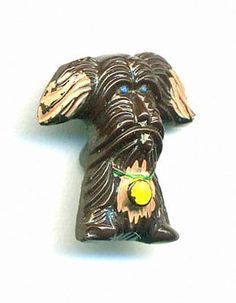 Vintage Dog Button...Brown Glass Realistic...Cute Pooch! in Antiques, Sewing (Pre-1930), Buttons   eBay