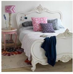 Bedroom with vibrant soft furnishings. Perfect for a little girls room. Pink Bedroom Decor, Master Bedroom Interior, Pink Bedrooms, Modern Bedroom Design, Bedroom Colors, Girls Bedroom, Bedroom Ideas, Bedroom Inspiration, Bedroom Designs