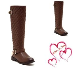 "SALE Quilted Boot - Sizing: True to size. 7.5 - Round toe - Quilted shaft - Side buckle straps - Side zip closure - Approx. 18"" shaft height, 14"" opening circumference - Approx. 1"" heel - Materials: PU upper and sole Shoes Heeled Boots"