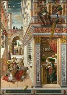 CARLO CRIVELLI Annunciation with Saint Emidius Completion Date: 1486 Style: Early Renaissance Genre: religious painting Technique: oil, tempera - ancient UFO in background! Ancient Aliens, Aliens And Ufos, Ancient Art, Ancient History, Art History, Evidence Of Aliens, History Class, Renaissance Kunst, Renaissance Paintings