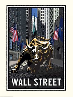 Mark Herman's Wall Street Bull NYC wall mural is a depiction of an iconic New York City landmark. The Charging Bull takes aim, ready to bolt towards the viewer. American flags line the street, leading the eye down the sidewalks of the city. Teen Wallpaper, Cartoon Wallpaper, Wall Wallpaper, Bull Painting, Charging Bull, Murals Your Way, Street Stock, Prepasted Wallpaper, Office Art