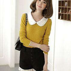 Vrouwen+Plisse+Eenvoudig+shirt+met+lange+mouwen+–+EUR+€+14.43