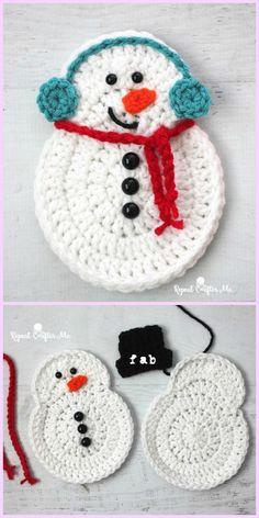 Crochet Ornament Patterns, Crochet Leaf Patterns, Crochet Ornaments, Snowman Ornaments, Snowmen, Crochet Christmas Decorations, Crochet Decoration, Holiday Crochet, Christmas Knitting