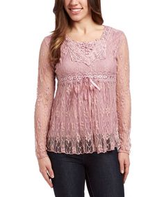 Look at this Pink Embellished Lace Empire-Waist Top on #zulily today!